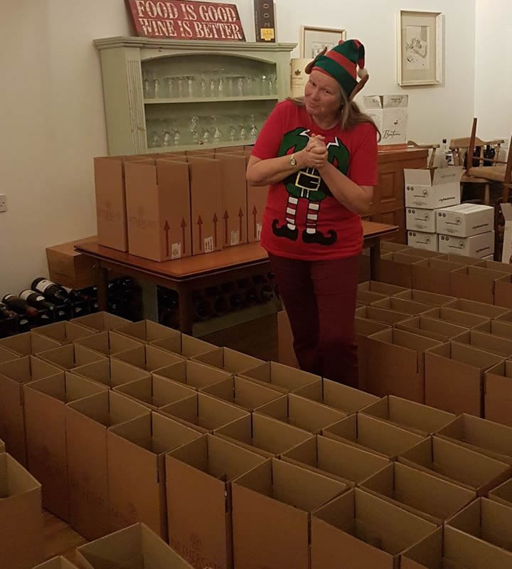 Corporate wine gifts - our elves are busy packing